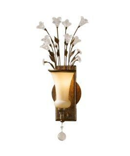 Murray Feiss WB1376GIS Jardin Botanique 1 Light Wall Sconce, Gilded Imperial Silver Finish with Cream Etched Glass and Hand Polished Crystal Accents