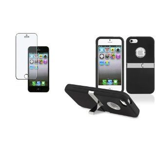 CommonByte Black w/Chrome Stand Hard Cover Case+Anti Glare Screen Protector For iPhone 5 5G Cell Phones & Accessories