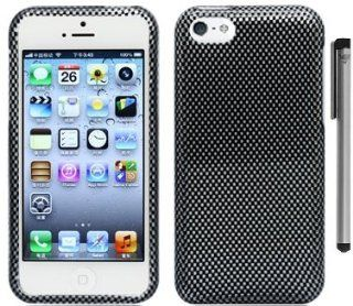 Carbon Fiber Design Hard Cover Case with ApexGears Stylus Pen for Apple iPhone 5C by ApexGears Cell Phones & Accessories