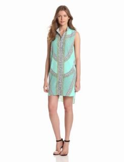 Mara Hoffman Women's Sleeveless Shirt Dress, Shields Mint, X Small