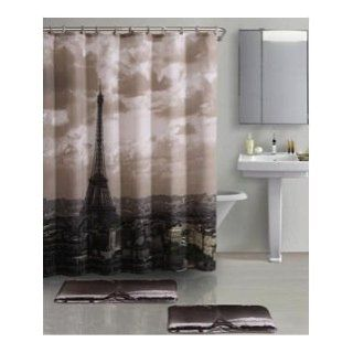 "Paris Sky Black & Grey Shower curtain Eiffel Tower 72""x72"""