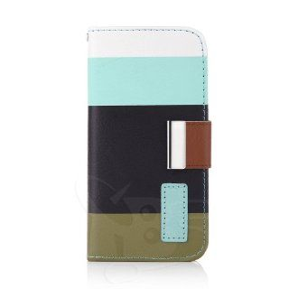 PU Leather Magnet Wallet Flip Case Cover with Credit Card Slot for Samsung Galaxy S4 Galaxy SIV i9500 (Black&Blue) Cell Phones & Accessories