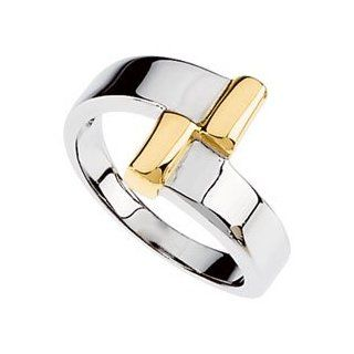 14K White Yellow Gold Two Tone Metal Fashion Ring, Size 6 Jewelry