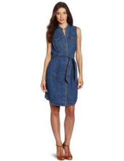 Jones New York Women's Denim Sleeveless Shirt Dress, Nevada Wash, Large