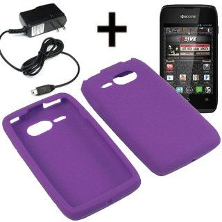 AM Silicone Sleeve Gel Cover Skin Case for Virgin Mobile Kyocera Event C5133 + Travel Charger Purple Cell Phones & Accessories