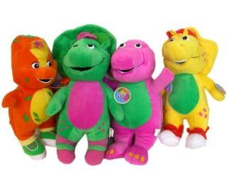 My Dinosaur Barney & Friends 4 Hard Stuffed Doll Huge Toy 20 inch   Barney, Baby Bop, Riff & BJ, 4 Giant Doll Set (Great gift item) Toys & Games