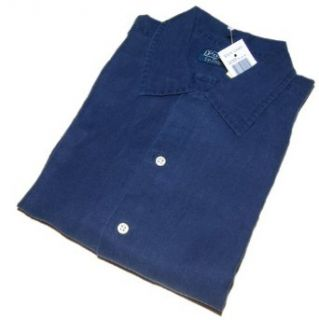 Polo Ralph Lauren Mens Linen Silk Navy Blue Shirt Large at  Men�s Clothing store Button Down Shirts