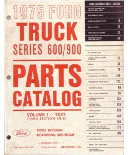1975 Ford Truck 600 900 Part Numbers Book List Catalog Manual Interchange Automotive
