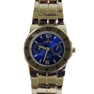 Biancchi Designer Men's Dress Watch Silver Bracelet with Blue Face & Silver Accents Watches