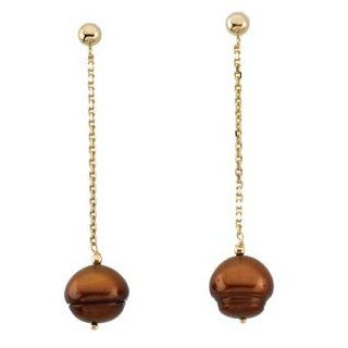 14 Karat Yellow Gold Freshwater Cultured Chocolate Pearl Dangle Earrings Diamond Designs Jewelry