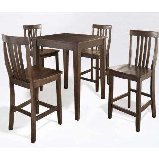 5 Piece Tapered Leg Pub Table Set with School House Stools (Vintage Mahogany) (See Description)   Dining Room Furniture Sets