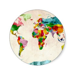 World Map Watercolors Round Stickers