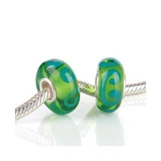 Teal Swirls in Light Green Glass Bead with 925 Sterling Single Core