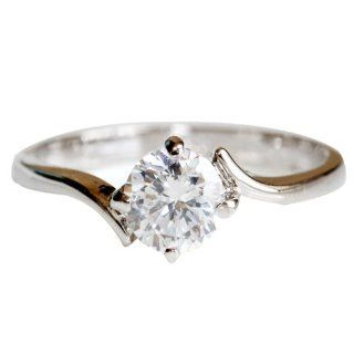 FASHION PLAZA White Gold Finish Engagement Ring with Diamond Cut Cubic Zirconia  4 Claw Setting R265 Jewelry