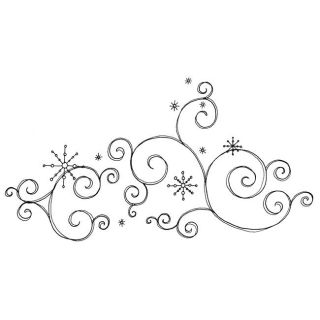 Penny Black Snow Scroll Rubber Stamp Wood Stamps