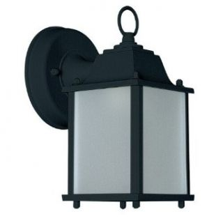 Sunset Lighting F7908 31 One Light Square Outdoor Wall Mount, Black Finish with Frosted Glass   Wall Sconces