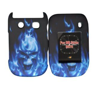 Blue Skull Fire Blackberry Style, Flip 9670 Case Cover Hard Phone Cover Case Faceplates Cell Phones & Accessories