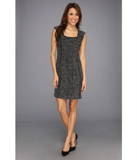 Anne Klein Tweed Fringed Sheath Dress Black Multi