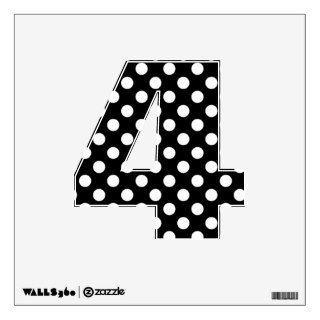 Black & White Polka Dot Number 4 Wall Decal