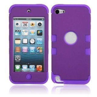 Fast shipping + Free tracking number , 3 in 1 Shell 2 Color Silicone & Plastic Case Cover for iPod Touch 5   Purple & Blue Cell Phones & Accessories