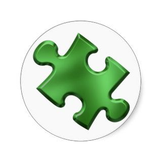 Autism Puzzle Piece Green Stickers