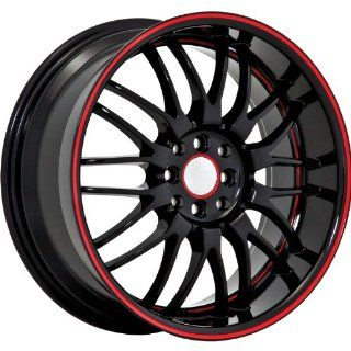 Ruff R951 17 Black Red Wheel / Rim 4x100 & 4x4.5 with a 40mm Offset and a 73.1 Hub Bore. Partnumber R951GJ4BF40N7A Automotive