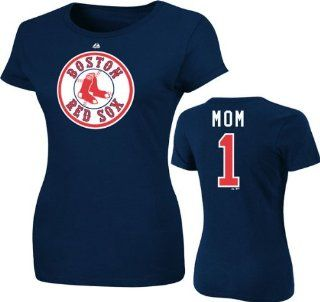 Majestic Boston Red Sox #1 Mom Logo T shirt   Navy Blue (Medium)  Sports Fan T Shirts  Sports & Outdoors