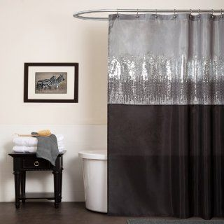 Lush Decor Night Sky Shower Curtain, 72 Inch by 72 Inch, Black/Gray