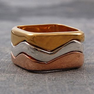 triple tone gold fusion stack ring by otis jaxon silver and gold jewellery