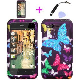 4 items Combo Mini Stylus Pen + LCD Screen Protector Film + Case Opener + Purple Pink Green Yellow Blue Multi Color Butterfly Design Rubberized Snap on Hard Shell Cover Faceplate Skin Phone Case for Verizon HTC Rhyme ADR6330 / Bliss 6330 Cell Phones &