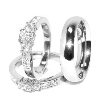 His/ Hers 3 Pcs Brilliant CZ Stainless Steel Wedding Ring Set and Mens Matching Band, AVAILABLE SIZES men's 8~14; women's set 5~10. Whole size only. CONTACT US BY EMAIL THROUGH  WITH SIZES AFTER PURCHASE Jewelry