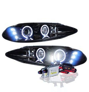 High Performance Xenon HID Dodge Intrepid Dual Halo Proj. Headlights with Premium Ballast (Glossy Black Housing w/ Smoke Lens & 6000K HID Lighting Output) Automotive