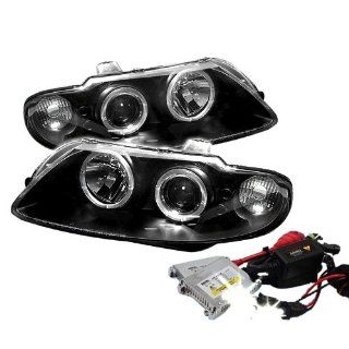 High Performance Xenon HID Pontiac GTO Halo LED ( Replaceable LEDs ) Projector Headlights with Premium Ballast   Black with 4300K OEM White HID Automotive