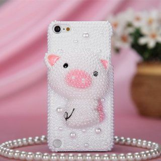 Pink Pig Pearl 3D Bling Case Cover Rhinestone Crystal Faceplate For Apple iPod iTouch 5 with Free Pouch   Players & Accessories