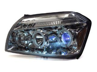 05 07 Dodge Magnum Chrome Dual HALO LED Projector Headlights + HID Low Only 10000K Automotive