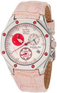 Stuhrling Original Women's 231CR.1115A80 Aquadiver Nemo Swiss Quartz Chronograph Swarovski Crystal Date Pink Leather strap Watch Watches