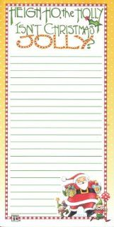 "Mary Engelbreit Christmas Magnetic Refrigerator Grocery Lister To Do List Note Pad Santa Claus and Elves ""Heigh Ho the Holly ~ Isn't Christmas Jolly?""  Memo Paper Pads"