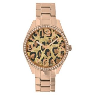 Merona® Animal Print Dial Watch,Rose Gold Br