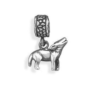 SCJ Sterling Silver Charm Bead Wolf Dangle Fits European Style Bracelet Jewelry