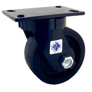 "RWM Casters 75 Series Plate Caster, Swivel, Kingpinless, Forged Steel Wheel, Roller Bearing, 5500 lbs Capacity, 8"" Wheel Dia, 3"" Wheel Width, 10 1/8"" Mount Height, 6 1/2"" Plate Length, 4 1/2"" Plate Width Industrial & Scientifi"
