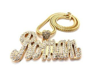 Rhinestone Nicki Minaj Roman Pendant w/Franco Chain Necklace MP824 Gold Jewelry