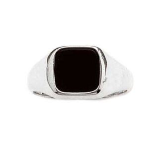 So Chic Jewels   Mens Sterling Silver Onyx Signet Ring Jewelry