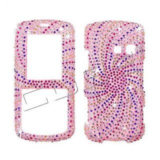 LG Banter UX265 AT&T   SWIRL DESIGN   Pink/Blue/Silver   Full Rhinestones/Diamond/Bling   Hard Case/Cover/Faceplate/Snap On/Housing Cell Phones & Accessories