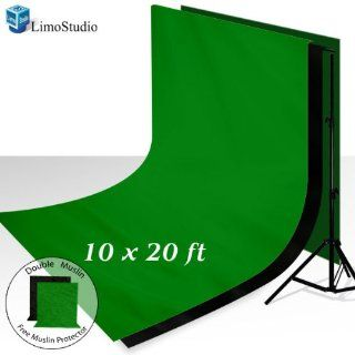 LimoStudio Photo Video Muslin Kit 1 x 10' x 8.5' Muslin Background Stand Support System 2 x 10' x 20' Seamless 100% Cotton Muslin Backdrop, Green Chroma Key and Solid Black Backdrop Background, FREE 2 x 10' x 10' Muslin Protectors,