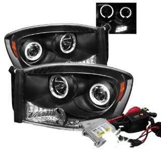 High Performance Xenon HID Dodge Ram 1500 / Ram 2500/3500 Halo LED ( Replaceable LEDs ) Projector Headlights with Premium Ballast   Black with 4300K OEM White HID Automotive