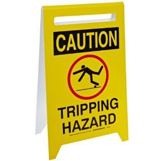 "Brady 47243 20"" Height, 12"" Width, Polystyrene Plastic, Black On Yellow Color Floor Stands, Legend ""Caution, Tripping Hazard (With Picto)"" Industrial Warning Signs"