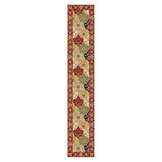 Lyndhurst Collection Oriental Multicolor/ Red Runner Rug (23 X 12)