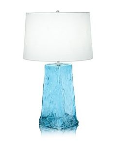 Lighting Accents Wave Recycled Glass Table Lamp, Aqua   Table Lamp Blue