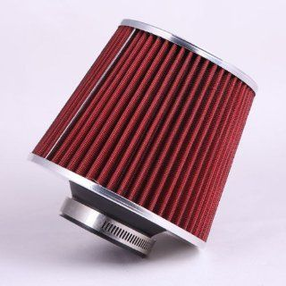 Fastwayracer AF6 275 RD, Universal High Performance Red 2.75'' Inlet Cone Dry Flow Air Filter Oil Free Automotive