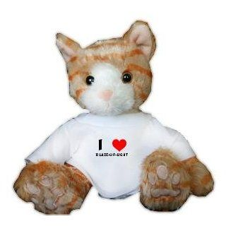 Plush Stuffed Brown Cat Toy with I Love Blaze of light T Shirt (first name/surname/nickname) Toys & Games